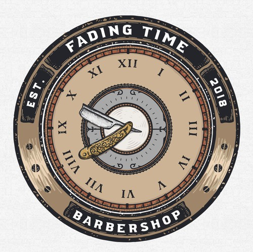 Clock logo with the title 'Fading Time Barbershop'