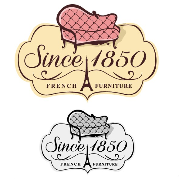 Sofa design with the title 'French Antique Furniture Logo'