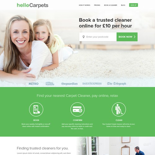 Cleaning design with the title 'Webpage Design for Venture backed company'