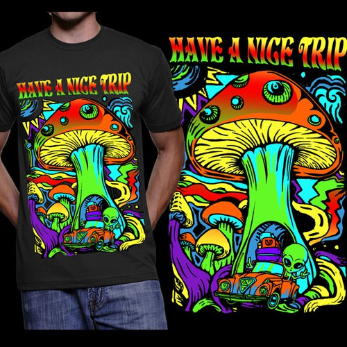 Mushroom design with the title 'Create a trippy black light poster style MUSHROOM tee!'