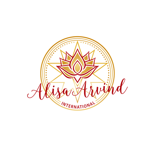 Gold circle logo with the title 'Alisa Arvind International'