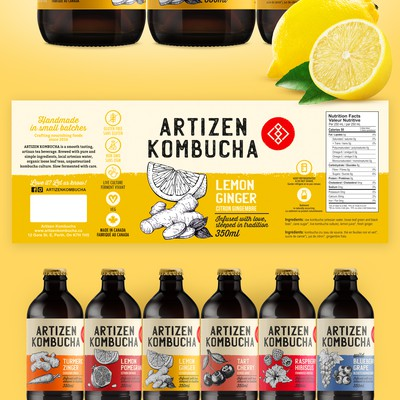 Rebranding labels Artizen Kombucha
