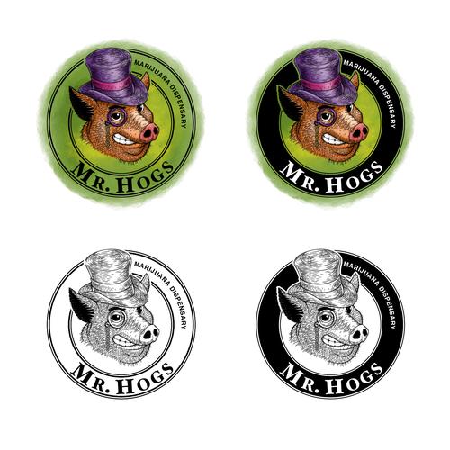 Dispensary design with the title 'Mr. Hogs logo design.'