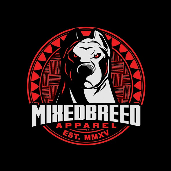 Pitbull design with the title 'MIXEDBREED APPAREL'