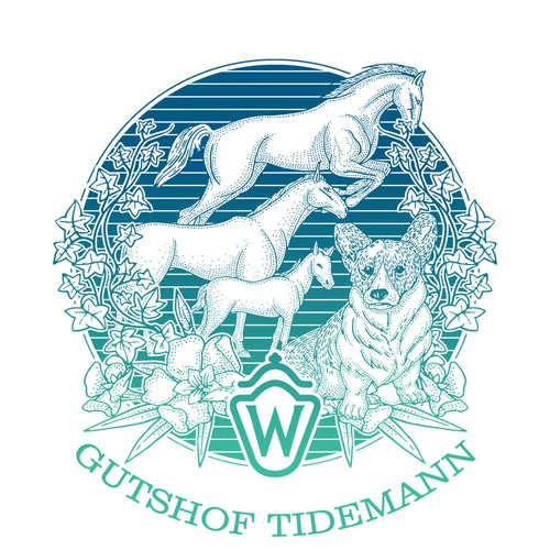 Cat, dog, and horse logo with the title 'Gutsof Tidemann Logo/ illustration'