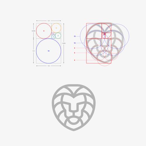 Golden ratio logo with the title 'Lion Golden Ratio'