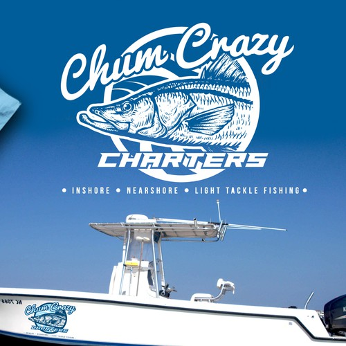Fish logo with the title 'Crazy Fishing Logo'