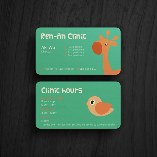 Pediatric design with the title 'Playful Business Card'