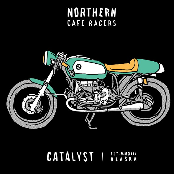 Cafe racer logo with the title 'CATALYST - NORTHERN CAFE RACER'
