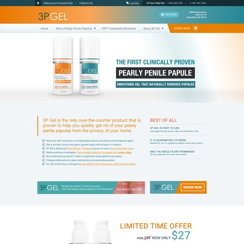 Sales website with the title '3P GEL'
