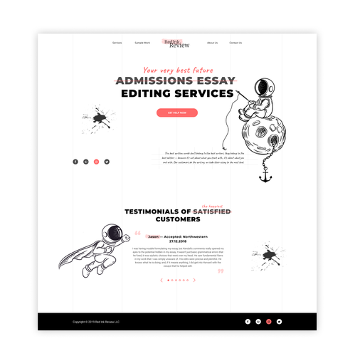 Space website with the title 'Creative website for essay editing company!'