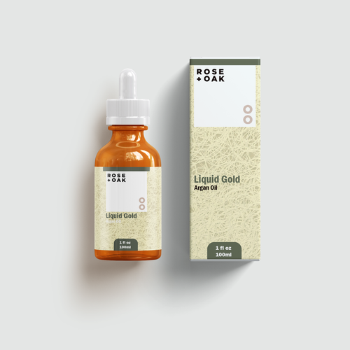 Box label with the title 'ROSE & OAK Liquid Gold'