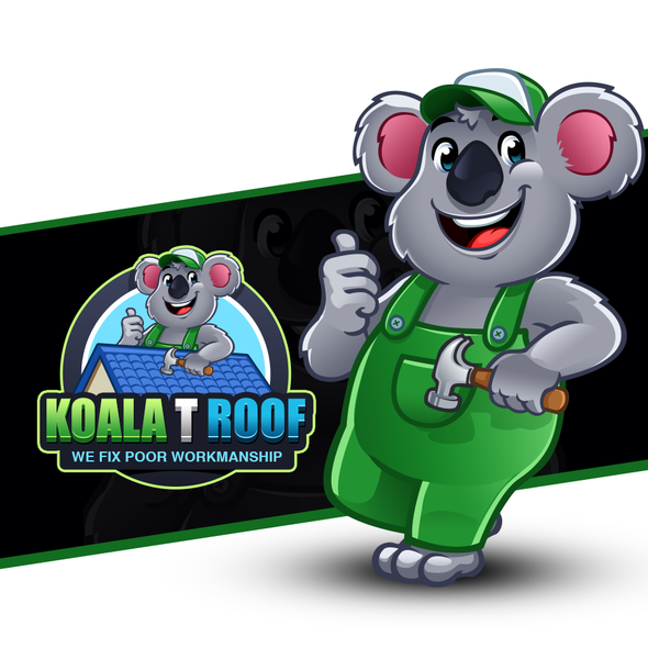 Koala design with the title 'Lovable Koala Logo Mascot for roofing contractors specializing in roof repairs and replacements'