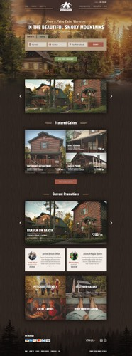 Forest design with the title 'Cabin Pros - Luxury Cabin Rentals'