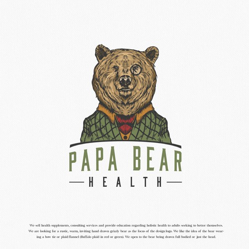 Illustrated design with the title 'Papa Bear'