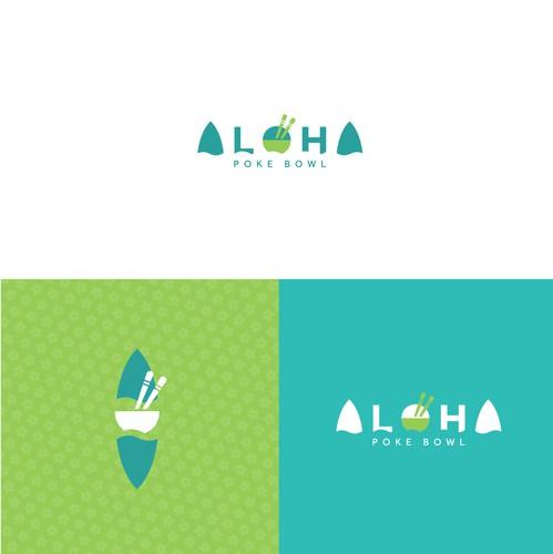 Hawaiian design with the title 'Aloha - Poke Bowl'