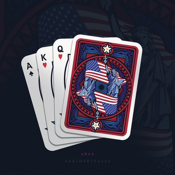 Liberty design with the title 'Playing cards'