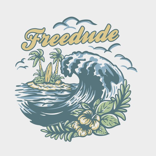 Vintage surf logo with the title 'Freedude'