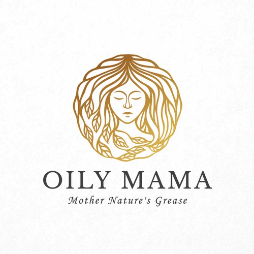 Girl logo with the title 'Oily Mama'