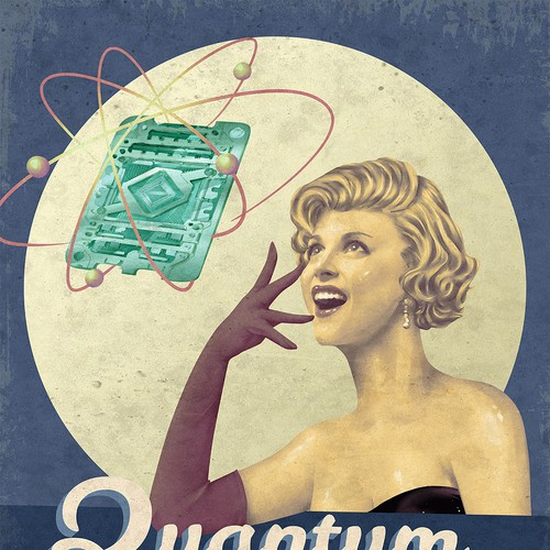 Pin-up girl artwork with the title 'Quantum Computing'