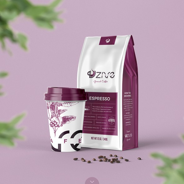 Cafe packaging with the title 'Dzive Coffee Shop Packaging Concept'