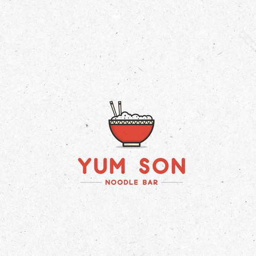 Noodle design with the title 'First draft and presentation of the Yum Son logo .'
