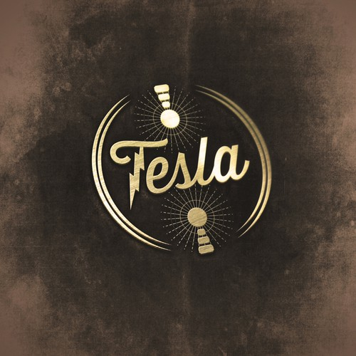 Tesla design with the title 'Create a vintage logo (but with a modern touch) for a casual bar/lounge called Tesla'