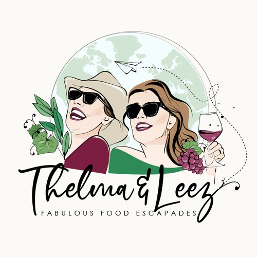 """Portrait logo with the title 'Fun logo for two sisters inspired from the movie """"thelma and louise""""'"""