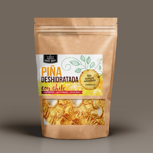 Paper bag packaging with the title 'Organic label design for dehydrated fruits chips package'