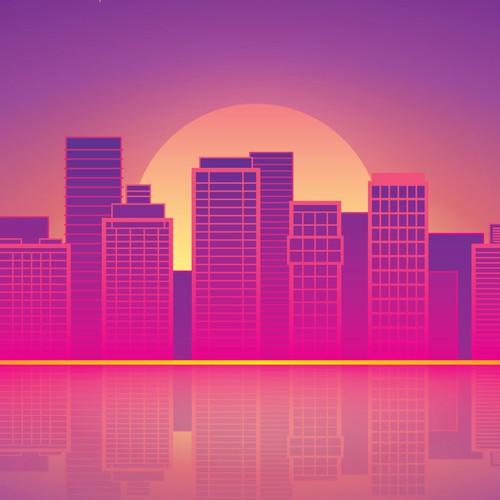 Sunshine design with the title 'City Lanscape Illustration for Envelope Design'