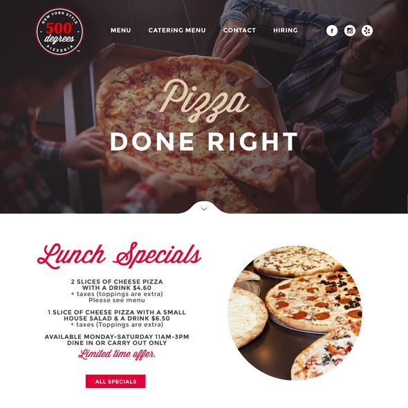 Pizza box design with the title 'www.500degreespizzeria.com'