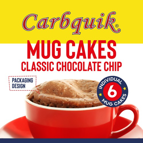 Cake design with the title 'Mug cakes packing'