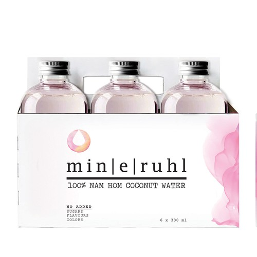 High-end packaging with the title '6 pack for bottles and logo for coconut pink water'