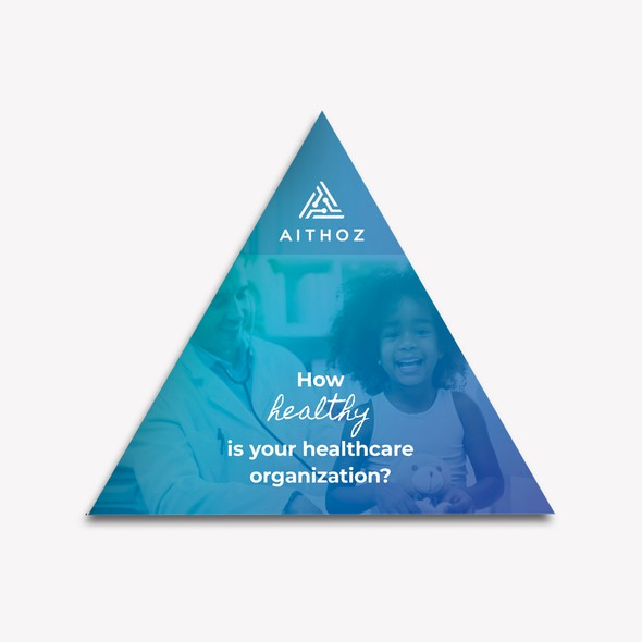 Triangle design with the title 'Triangular brochure for healthcare company'