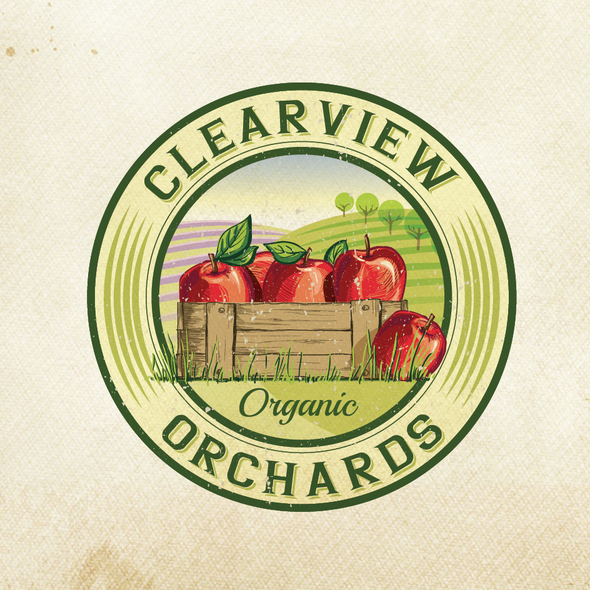 Orchard logo with the title 'logo for Clearview Orchards'
