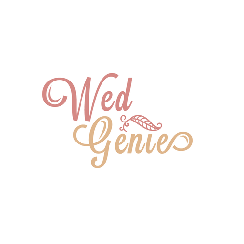 Romantic logo with the title 'Wed Genie'