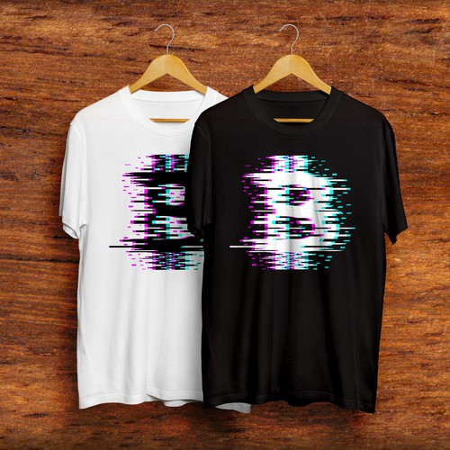 Cryptocurrency t-shirt with the title 'Glitchy Bitcoin v2.0'