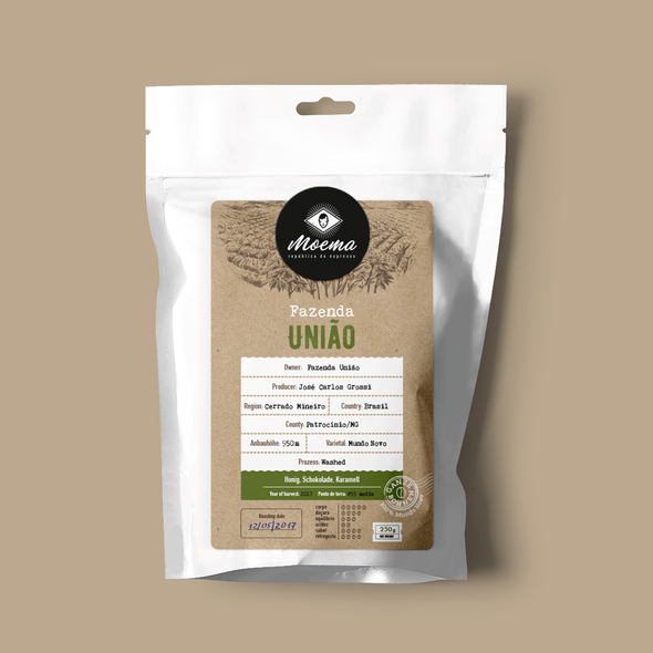 Kraft packaging with the title 'Packaging for Moema Specialty Coffees'