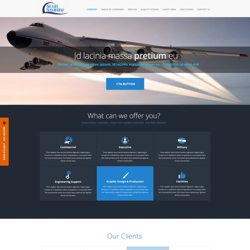 "Industrial website with the title 'Home Page Design for ""Aircraft Repainting""'"