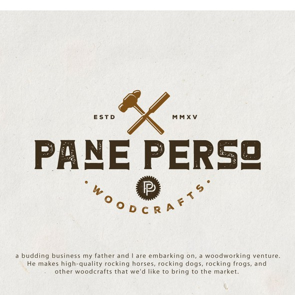 Woodcraft design with the title 'Logo for Pane Perso'