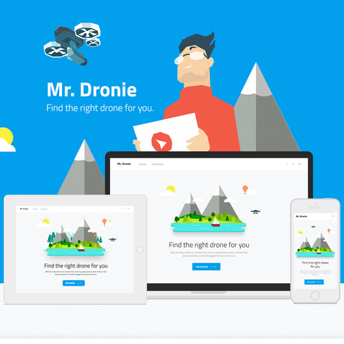 Drone design with the title 'Quiz Landing Page Design'