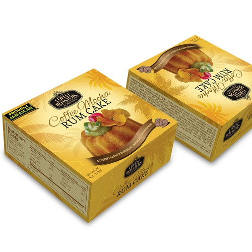 Cake packaging with the title 'Create 2 Awesome Jamaican Cake Box Designs'