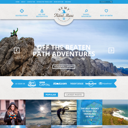 Travel design with the title 'Web design concept for BeMyTravelMuse'