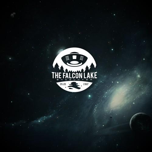UFO design with the title 'The Falcon Lake Encounter'