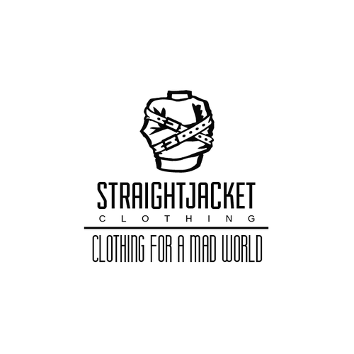 Belt design with the title 'Silhouette-like logo for Straight Jacket Clothing ideal for vinyl prints'