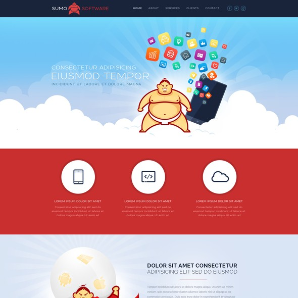Parallax design with the title 'Logo and website design for softwaredevelopment company'