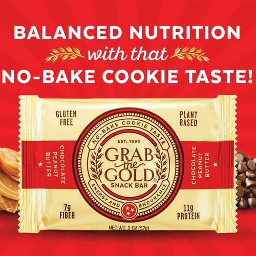 Chocolate design with the title 'Grab The Gold Snack Bar'
