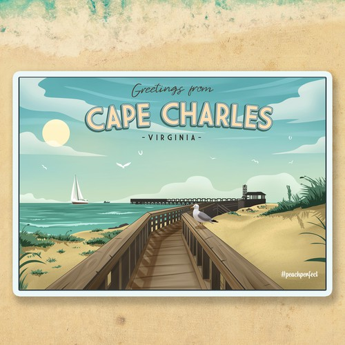 Beach illustration with the title 'Vintage Cape Charles Illustration'