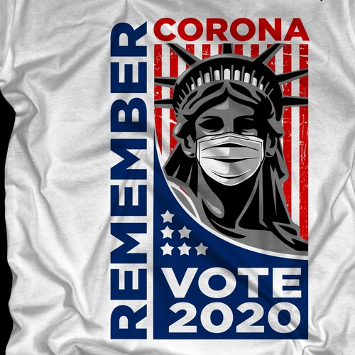 "Flag t-shirt with the title 'Remember Corona ""Vote 2020""'"