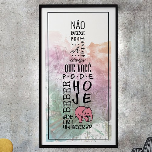 Pink and green design with the title 'Fun and creative poster - beer bar in São Paulo'